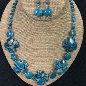 Crazy Lace Blue Agate necklace and earrings set